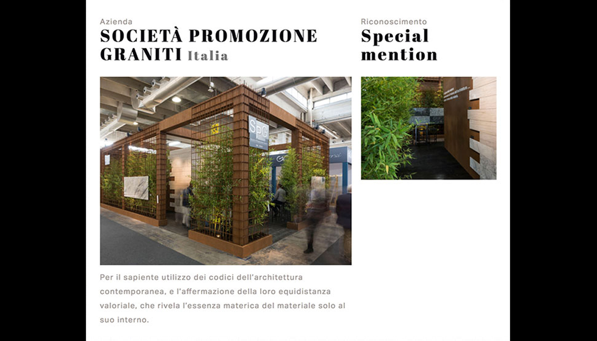 Best Communicator Award 2017 Società Promozione Graniti – Marmomac Verona